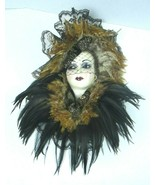 Unique Creations San Francisco Ceramic Face Wall Mask Lady w/ Feathers S... - $70.13