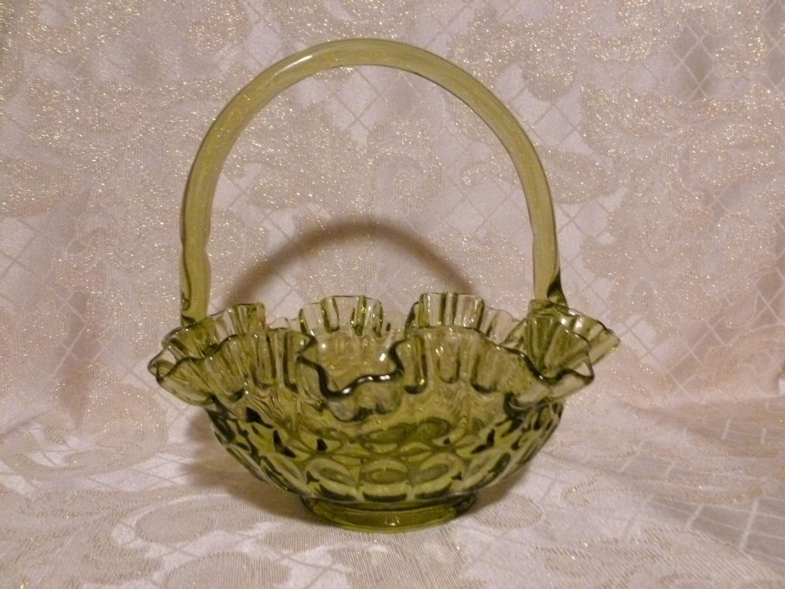 Primary image for Green Glass Fenton Basket 1940-50s Very Pretty Ruffled Top Exceptional Display