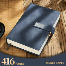 Thick Leather Business Journal A5 Notebook Lined Paper Writing Diary 416... - $29.29