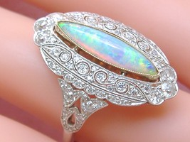 ESTATE EDWARDIAN DIAMOND OPAL PLATINUM COCKTAIL RING - $3,955.05