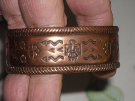 Vintage Heavy Solid Copper Bracelet Machine Stamped Design Unbranded - $24.50