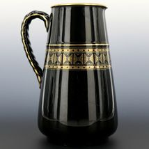 "Antique English Black Jackfield Pottery 8 1/4"" Pitcher Gold Band Reg Mark 1872 image 3"