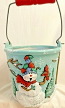 Decorative Bucket Christmas Winter  Snowman Squirrel Ceramic Candies Coo... - $9.89