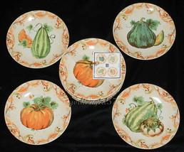 222 Fifth Calabash 8 APPETIZER SNACK PLATES Halloween Thanksgiving Pumpk... - $49.97