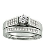 14k White Gold 1.02ct Diamond Engagement ring set .30ct round solitaire ... - $915.75