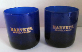 Vintage Harveys Bristol Cream Cobalt Blue Collectible Sherry Wine Glasses - $15.19