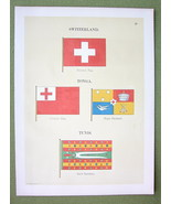 FLAGS Switzerland, Tonga & Tunis - 1899 Color Litho Print - $12.60