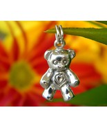 Vintage teddy bear bracelet charm pendant sterling silver figural thumbtall
