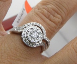 18k White Gold Diamond 2 Band Engagement Ring  (0.94 ct. t.w.)  Lot#Bel - $1,171.10