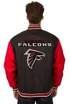 NFL Atlanta Falcons Poly Twill Jacket Black Red 2 Patch Logos JH Design - $129.99