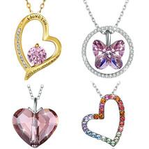 OTC Sterling Silver .925 Necklace & Pink Ruby Heart Charms - Popcorn Sty... - $19.99