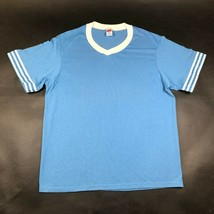Vintage Soffe Shirts Mens M Light Blue T Tee Shirt V Neck Knit Striped S... - $14.03