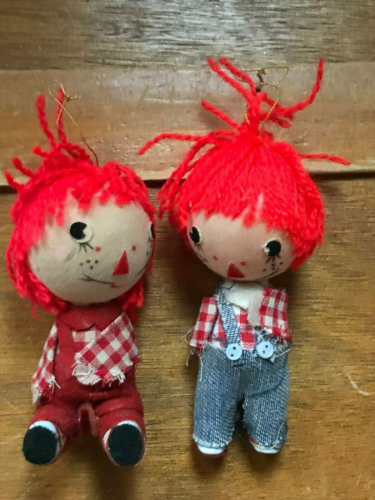Vintage Pair Lot of Raggedy Ann & Andy Christmas Tree Ornaments – made in Hong