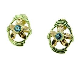 Retro 14k Gold Genuine Natural Aquamarine Earrings w/ Rose Gold Flowers ... - $550.00