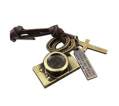 2 Pieces Of Retro Artistic Cow Leather Cord Camera Pendant Necklace