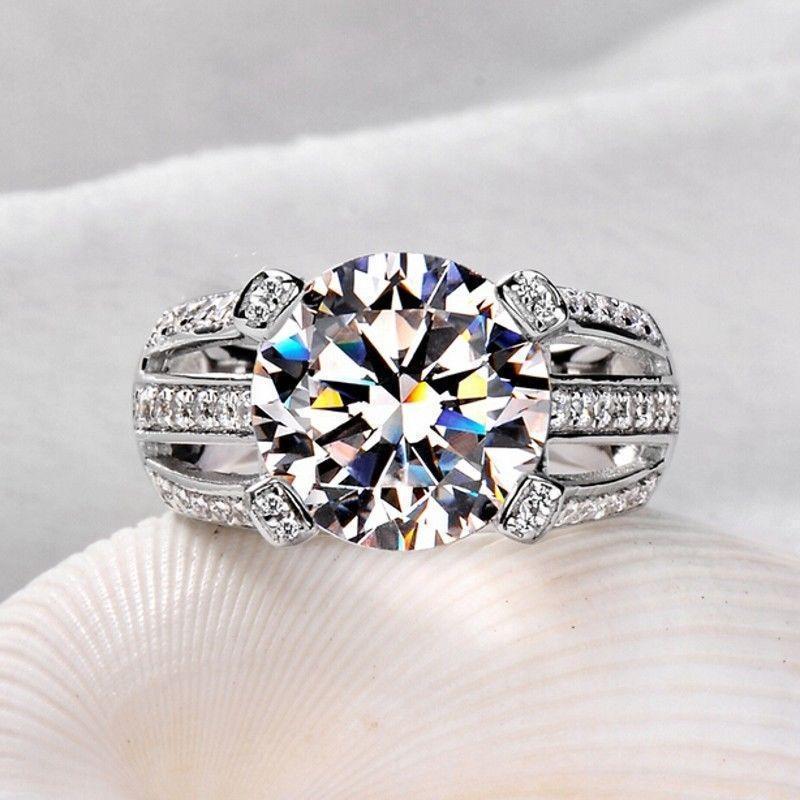 Round Shape Lab-Created Diamond 14k White Gold Finish Engagement Ring 925 Silver