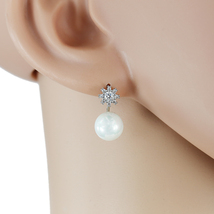 UE- Classic Silver Tone Faux Pearl & Swarovski Style Crystal Designer Earrings  - $15.99