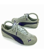 """PUMA """"Speed Cat"""" 351100  Gray Suede Purple Leather Sneakers Size 6.5 - $34.64"""