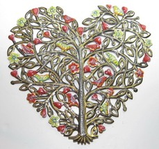 "Painted Heart Tree Haitian Recycled Steel Metal Drum Wall Art 22"" h x 23""w - $123.70"