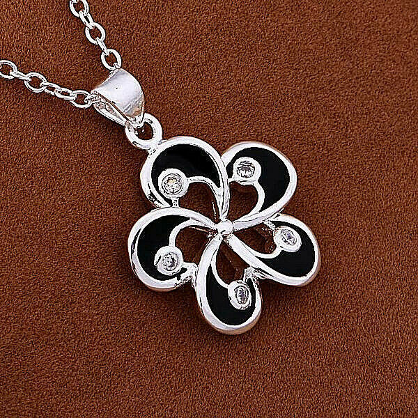 Primary image for Five Petal Flower with CZ Stones Pendant Necklace 925 Sterling Silver NEW
