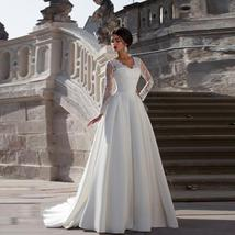 New Arrival V Neck Long Lace Sleeve Empire Waist  Bridal Wedding Gown image 1