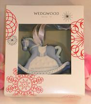 New Wedgwood Blue Jaspeware Baby 1ST First Christmas Rocking Horse Ornam... - $37.99
