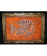 "Vintage Mexican Folk Art Batik Print Tropical Fish Orange 21""x15"" Framed - $43.60"