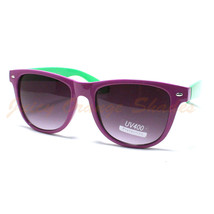 80's VINTAGE Sunglasses RETRO FUN 2-Tone Colors COOL Shades PURPLE And G... - $6.88