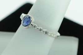 Custom made bkc 14K White Gold Sapphire and Diamond Ring (Size 6) - $565.00