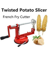 Stainless Steel Red Manual Blade Twisted Potato Slicer Spiral Cutter Tool - $10.68