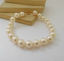 Vintage Off-White Knotted Glass Pearl Bead Bracelet A11 - $13.59