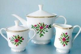 Gorham Festive Holly Tea Pot Sugar Bowl & Creamer Tea Set New in Box - $84.90