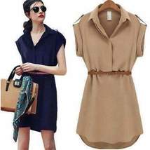 Casual Cap Sleeve Mini Dress With Belt - $19.00