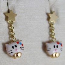 18K YELLOW GOLD PENDANT CHILD KIDS EARRINGS GLAZED CAT CATS STAR MADE IN ITALY image 1