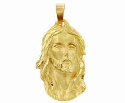 18K YELLOW GOLD JESUS FACE PENDANT CHARM 56 MM, 2.2 IN, FINELY WORKED ITALY MADE image 1