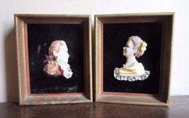 Pair of vintage 1950's framed 3D art. Celluloid bust of Colonial  man & ... - $24.99