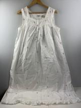 Adonna Nightgown 1X White Rosebud Ruffled Cotton Nightie Long Sleeveless - $39.60