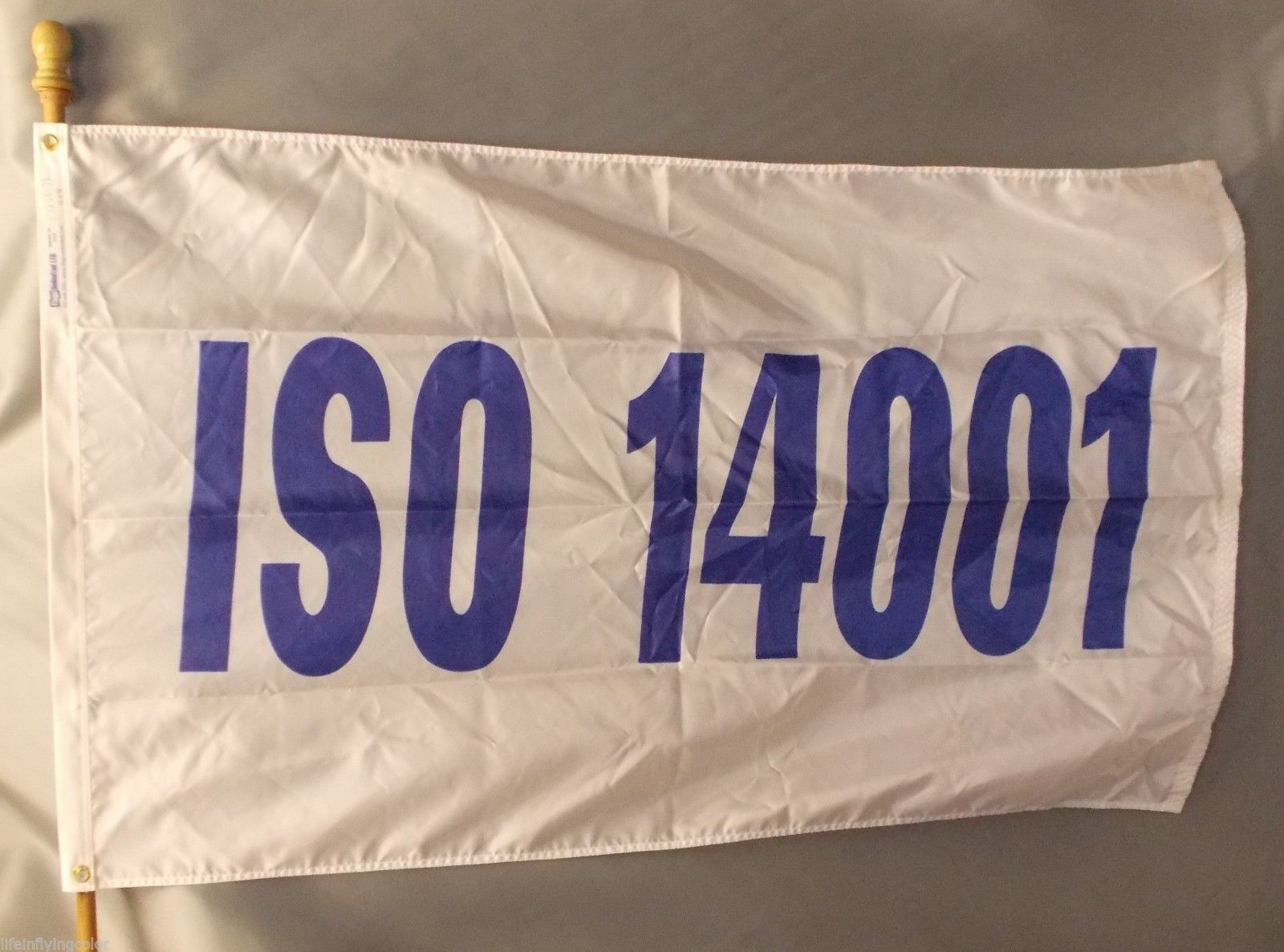 ISO 14001 3X5' NYLON FLAG NEW WHITE WITH BLUE LETTERS ISO 14001