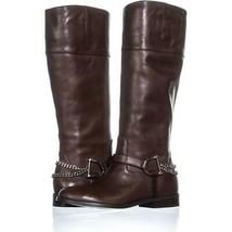 Lauren Ralph Lauren Jacqui Zip Up Chain Boots 301, Dark Brown, 7 US / 38 EU - $69.11