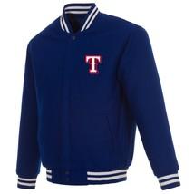 MLB  Texas Rangers Design Wool Reversible Jacket Royal Blue 2 Front  Logos - $129.99