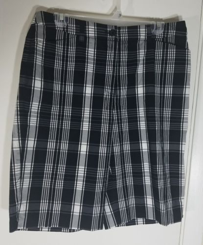 ANNE KLEIN SPORT STRETCH WOMEN GOLF SHORTS BLACK WHITE PLAID SIZE 10 Waist 32