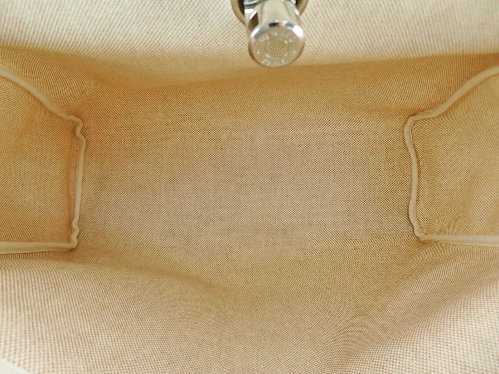 Auth HERMES Her Bag 2 in 1 Beige Canvas and Leather Hand Shoulder Bag #31320 image 8