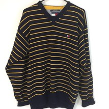 Vintage Tommy Hilfiger Men's size L Blue and Yellow heavy weight sweater - $32.49