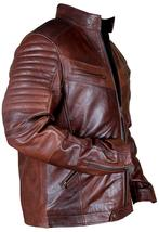 Cafe Racer Vintage Motorcycle Distressed Brown Biker Quilted Leather Jacket image 3