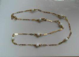 Vintage Monet Gold-tone White Bead Necklace Dainty - $40.99