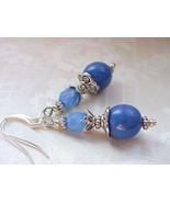 China Blue Earrings Holland Delft Vintage German Opal Milk Glass Bead Co... - $12.88