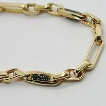 SOLID 18K YELLOW GOLD BRACELET SQUARE TUBE OVAL LINK BLACK ZIRCONIA, ITALY MADE image 3