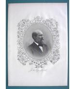 JAMES A. GARFIELD President - SUPERB Portrait 1883 Print Ornamental Border - $13.86