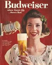 Vintage Budweiser King of Beer Ad   Where There's Life   2.5 x 3.5 Fridg... - $3.99