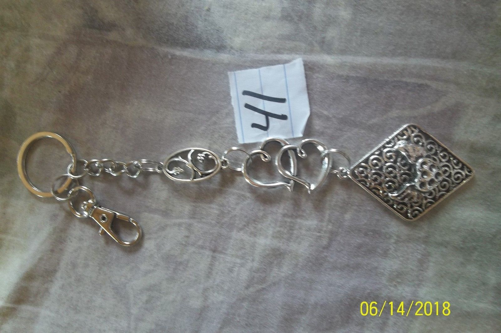 # purse jewelry silver color beauty keychain backpack filigree dangle charm #41